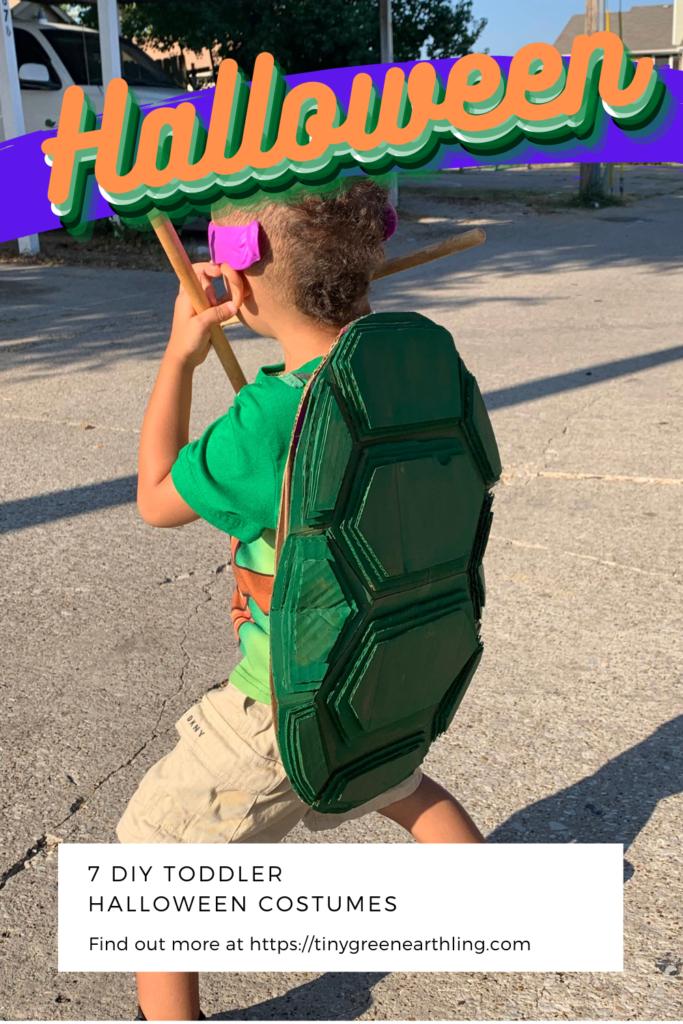 DIY cardborad and thrifted ninja turtle costume