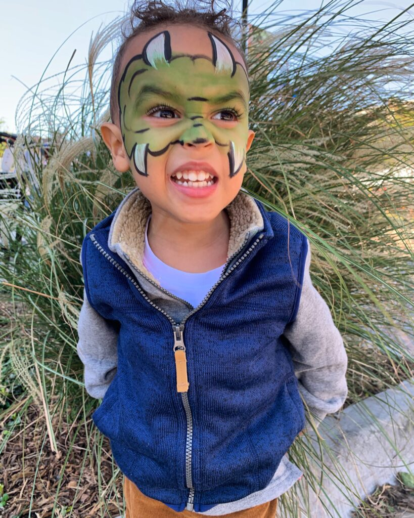 Monster face paint for Halloween costume - tiny green earthling