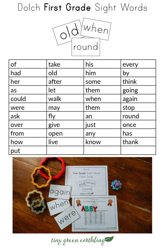 dolch sight words flash cards pin - first grade