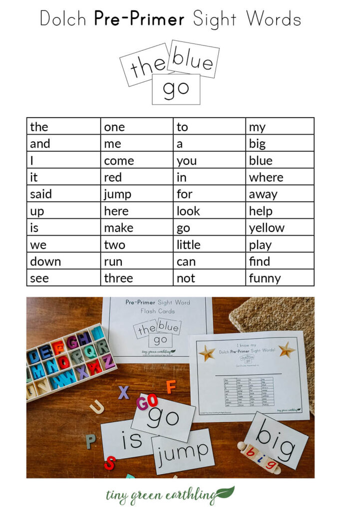 dolch sight words flash cards pin - pre-primer