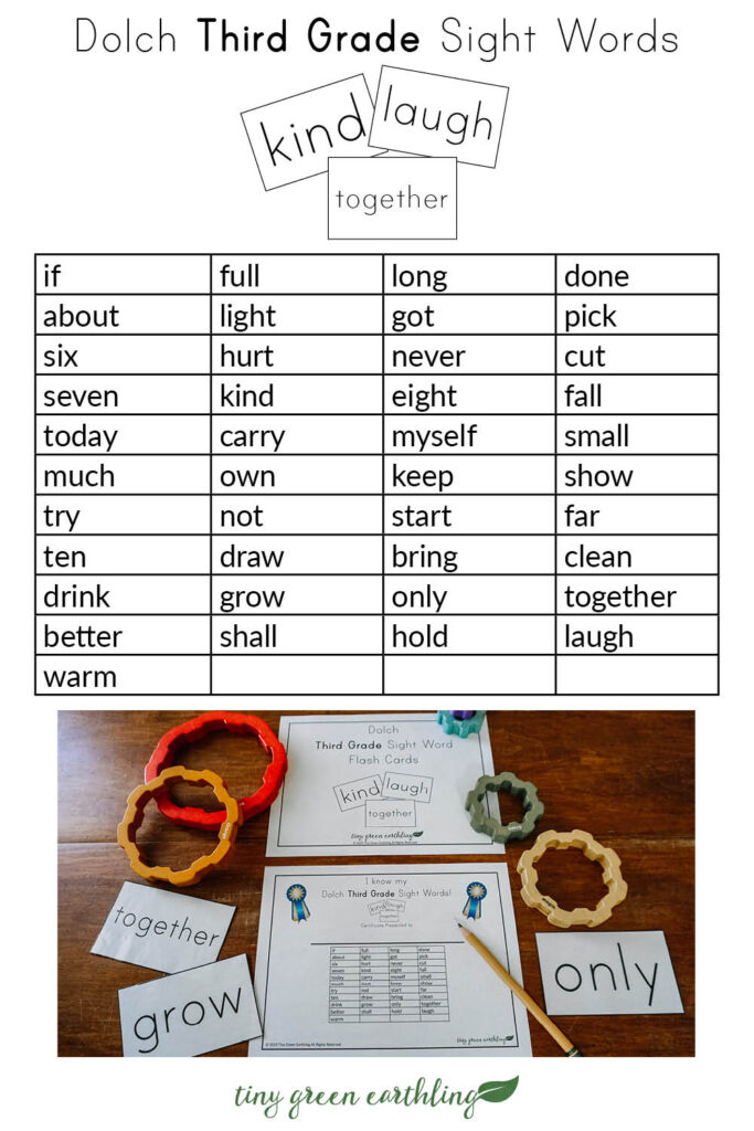 dolch sight words flash cards pin - thrid grade